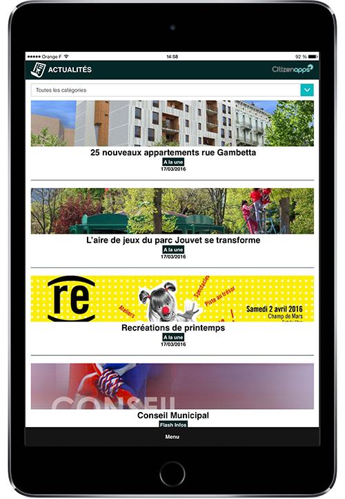 Application mobile pour commune présente les actualités