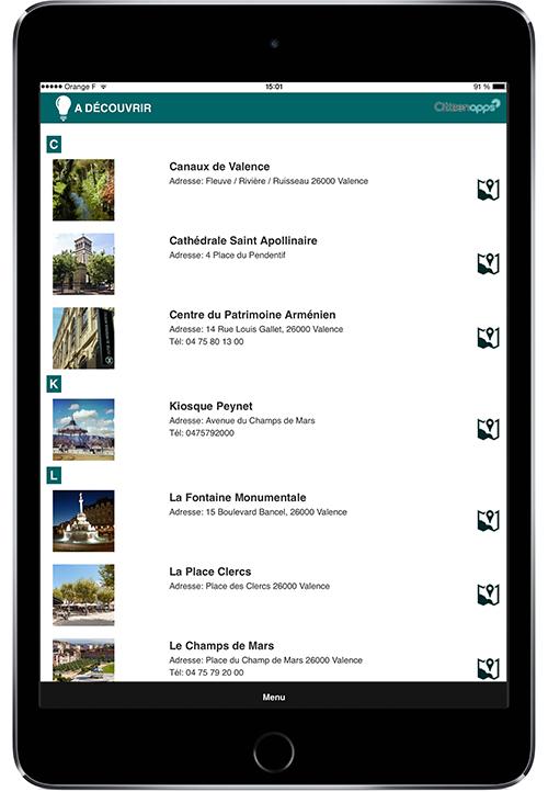 Application mobile pour votre ville présente les lieux touristiques