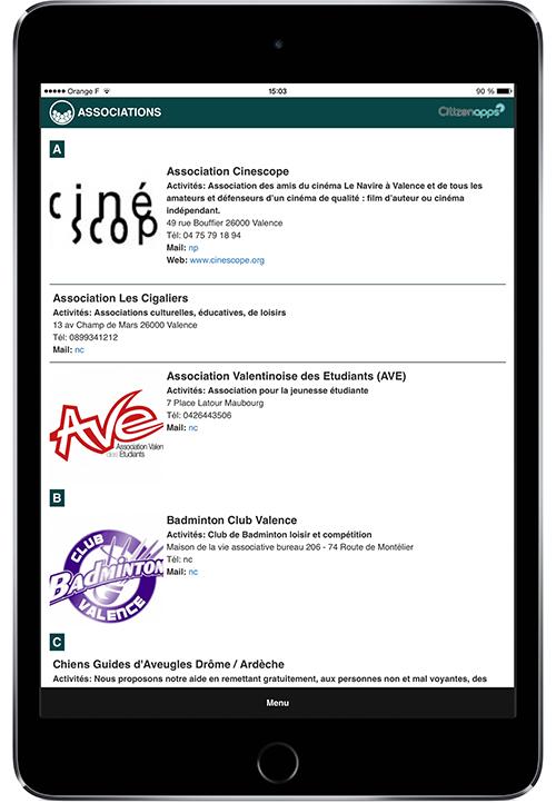 Application smartphone pour ville présente les associations