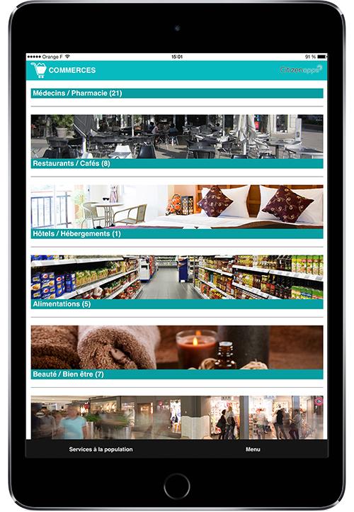 Application smartphone pour votre commune qui repère vos commerces