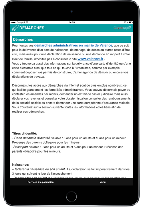 Application smartphone pour mairie qui renseigne sur les démarches à suivre