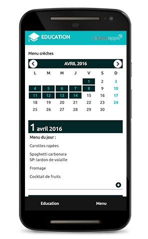Application mobile pour commune qui renseigne les menus de cantine