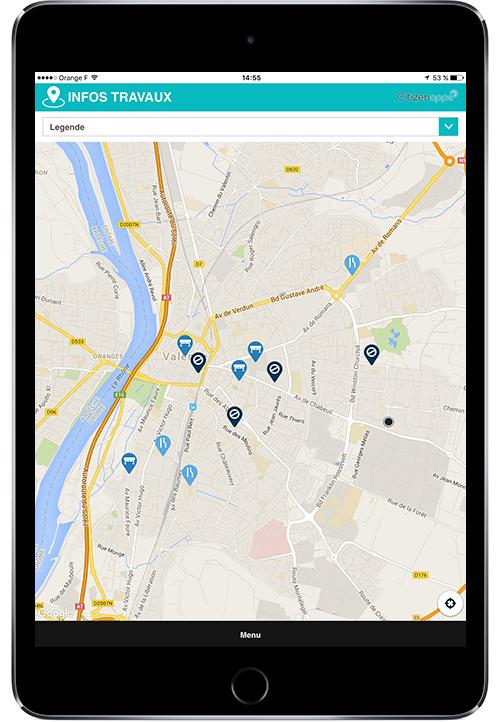 Application mobile pour mairie qui renseigne les travaux
