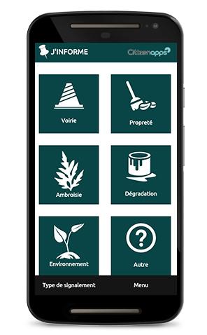 Application mobile pour votre ville signale les problèmes