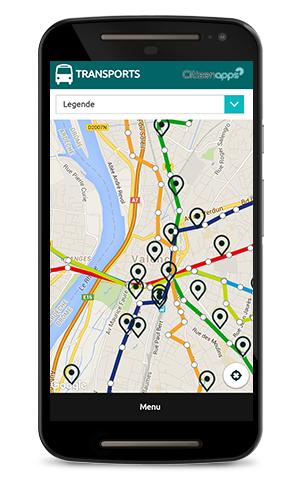 Application mobile pour votre commune repère vos transports